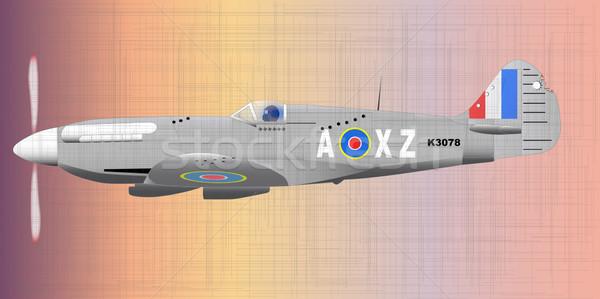ストックフォト: 戦闘機 · 世界 · 戦争 · マーク · 平面 · 機関銃
