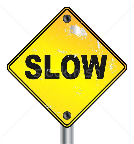 Slow Yellow Traffic Sign Stock photo © Bigalbaloo
