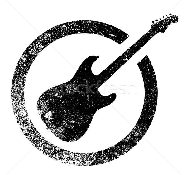 Black Ink Stamp Guitar Stock photo © Bigalbaloo