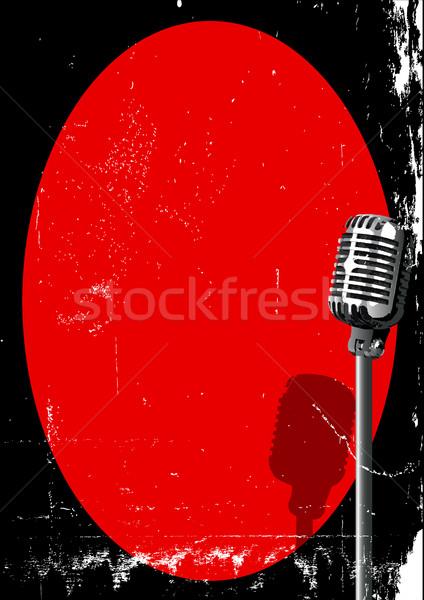 スポットライト マイク レトロな 赤 グランジ 背景 ストックフォト © Bigalbaloo