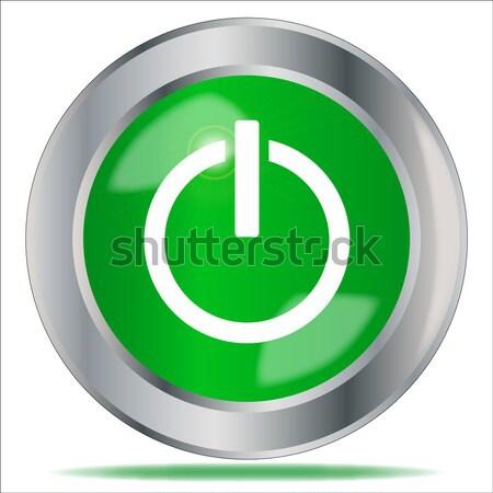 Motore inizio pulsante verde simbolo Foto d'archivio © Bigalbaloo