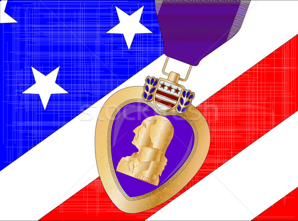 Bayrak mor kalp Yıldız madalya Stok fotoğraf © Bigalbaloo