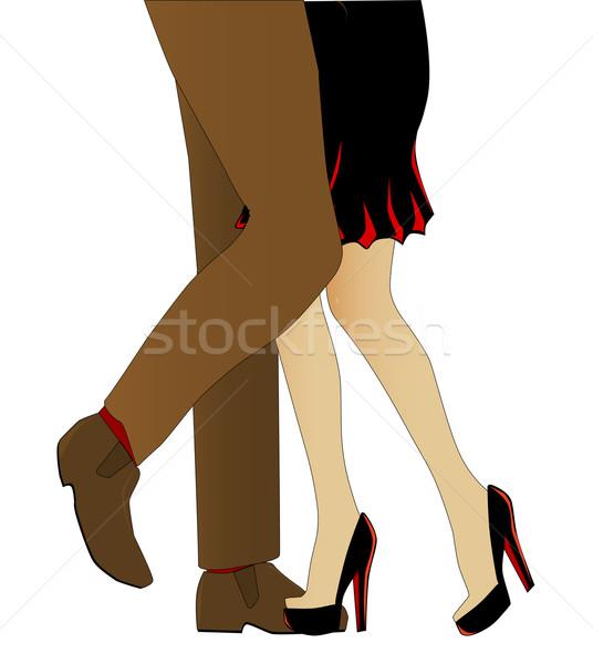Tango man benen dansen witte vrouw Stockfoto © Bigalbaloo