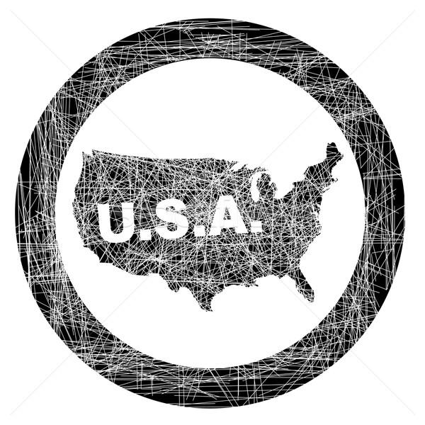 США карта штампа резиновые чернила рисунок Сток-фото © Bigalbaloo
