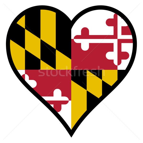 Stock fotó: Szeretet · Maryland · zászló · szív · összes · fehér