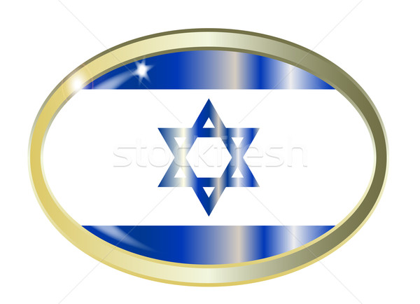 Israel bandeira oval botão metal isolado Foto stock © Bigalbaloo