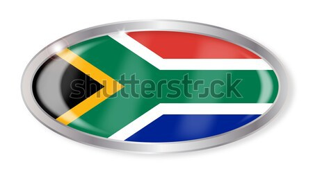 Güney Afrika bayrak oval düğme gümüş yalıtılmış Stok fotoğraf © Bigalbaloo