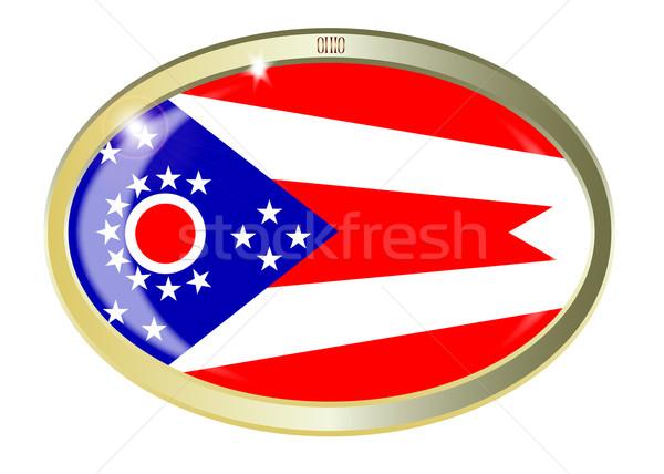 オハイオ州 フラグ オーバル ボタン 金属 孤立した ストックフォト © Bigalbaloo