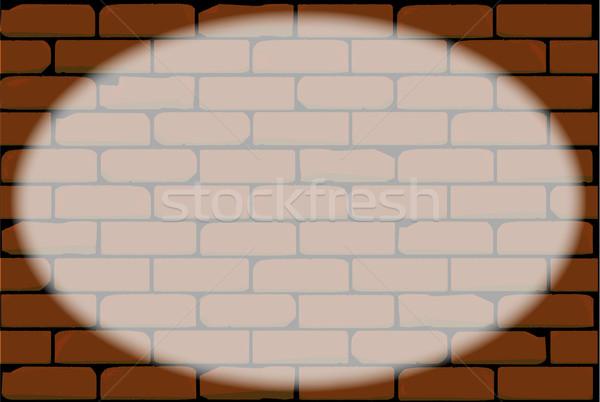 овальный Spotlight играет красный кирпичная стена стены Сток-фото © Bigalbaloo