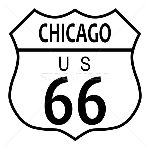 Route 66 Chicago verkeersbord witte stad naam Stockfoto © Bigalbaloo