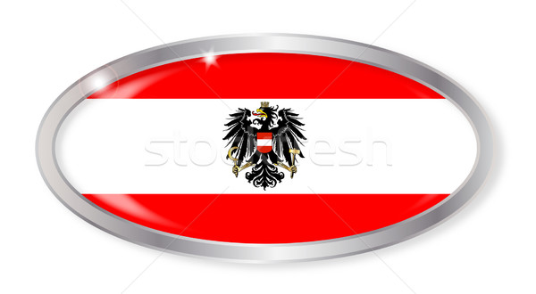 Bayrak oval düğme gümüş yalıtılmış beyaz Stok fotoğraf © Bigalbaloo