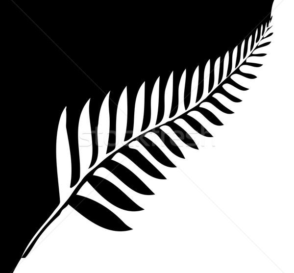 Zilver varen New Zealand silhouet embleem zwart wit Stockfoto © Bigalbaloo