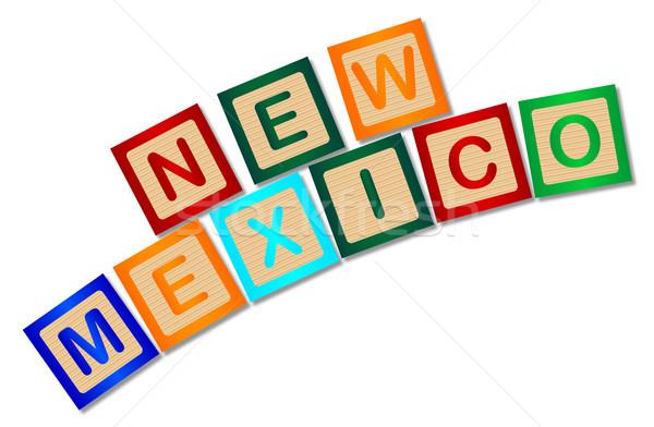 New Mexico houten brieven collectie spelling witte Stockfoto © Bigalbaloo