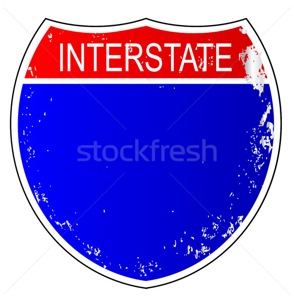 Zwischenstaatlichen Zeichen isoliert weiß Autobahn Verkehr Stock foto © Bigalbaloo