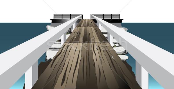 пешеходный мост посадка каменные острове морем фон Сток-фото © Bigalbaloo
