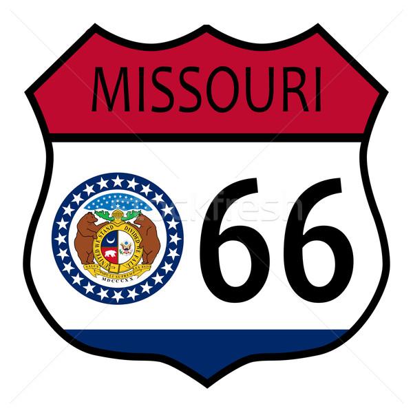 Stok fotoğraf: Route · 66 · Missouri · imzalamak · bayrak · trafik · işareti · beyaz