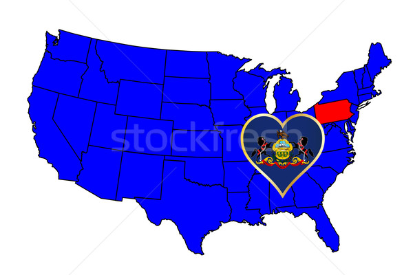 Pennsylvania schets icon ingesteld kaart Verenigde Staten Stockfoto © Bigalbaloo