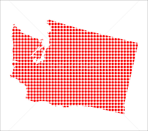 Red Dot Map of Washington Stock photo © Bigalbaloo