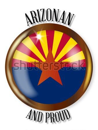 Arizona zászló ovális gomb fém izolált Stock fotó © Bigalbaloo