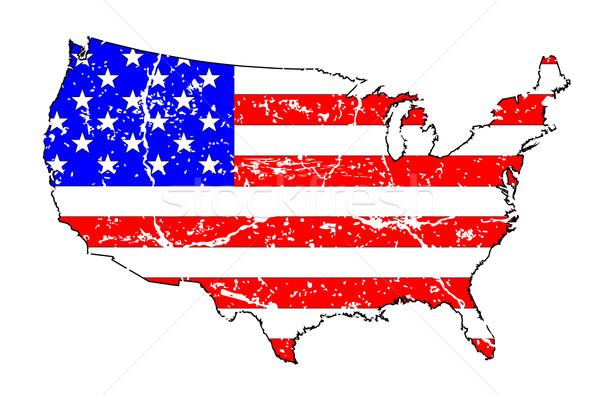 США Гранж флаг карта силуэта Сток-фото © Bigalbaloo
