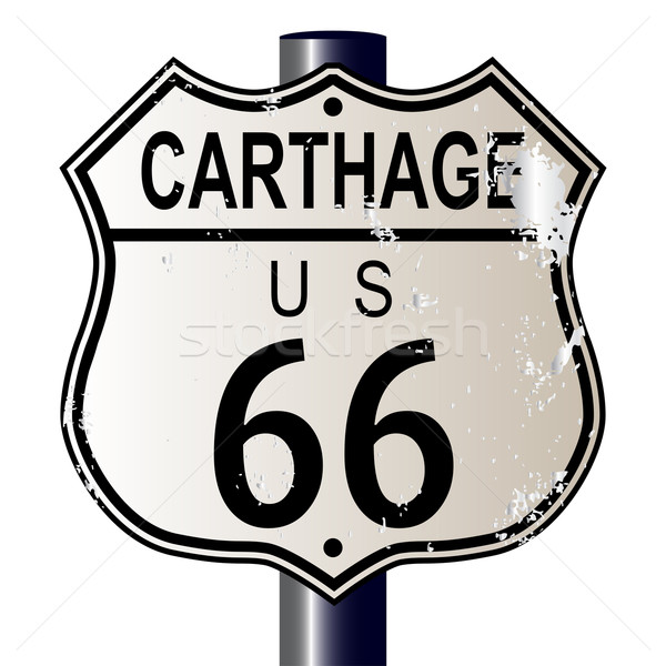 Carthage Route 66 Highway Sign Stock photo © Bigalbaloo
