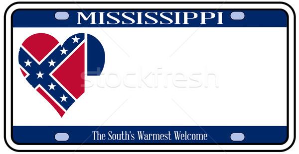 Mississipi plaka renkler bayrak simgeler beyaz Stok fotoğraf © Bigalbaloo