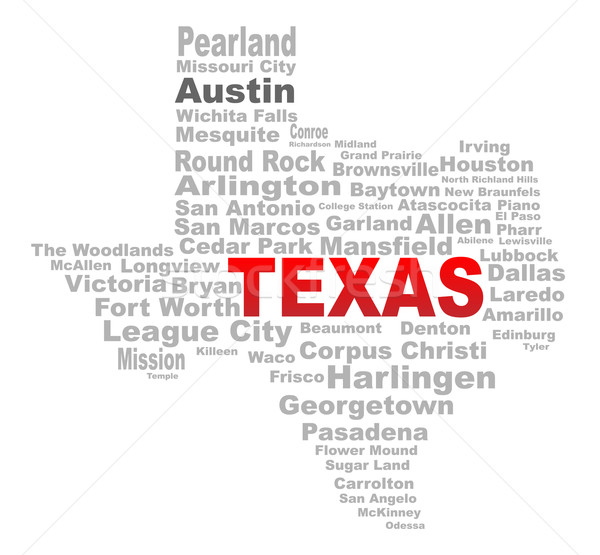 Stok fotoğraf: Teksas · kelime · bulutu · biçim · metin · şehirler · beyaz
