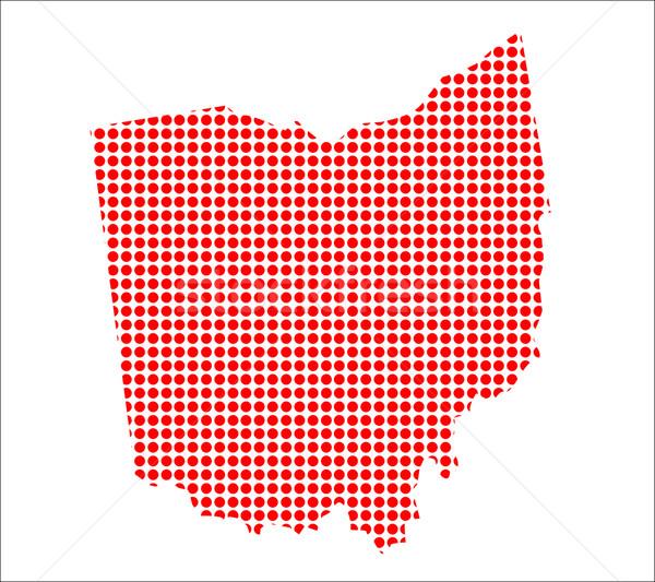 Red Dot Map of Ohio Stock photo © Bigalbaloo