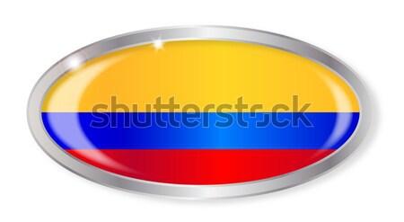 Colombia zászló ovális gomb ezüst izolált Stock fotó © Bigalbaloo