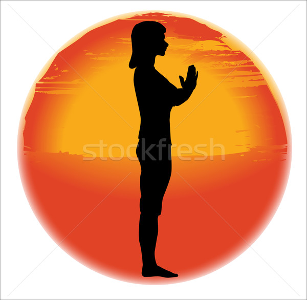 Salutation Yoga Pose Stock photo © Bigalbaloo