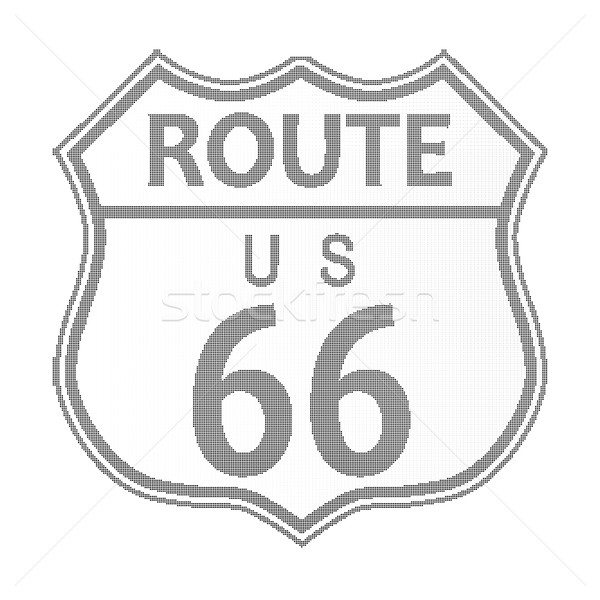 Route 66 Highway Sign Halftone Stock photo © Bigalbaloo
