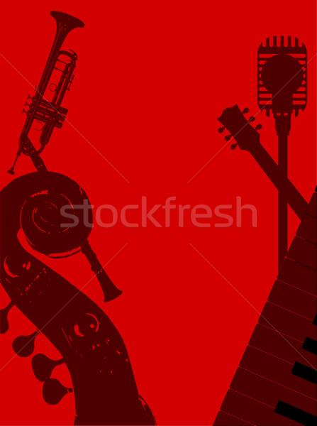 Jazz club fond affiche musique rouge Photo stock © Bigalbaloo