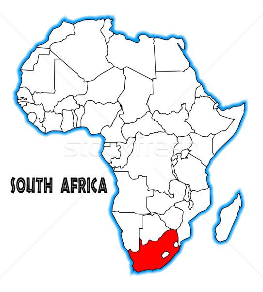 南アフリカ 地図 アフリカ 白 芸術 ストックフォト © Bigalbaloo