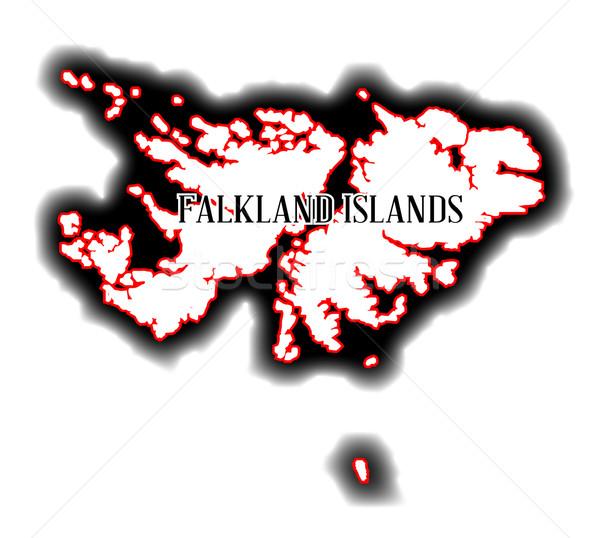Falkland-szigetek skicc térkép dél-amerikai rajz grafikus Stock fotó © Bigalbaloo