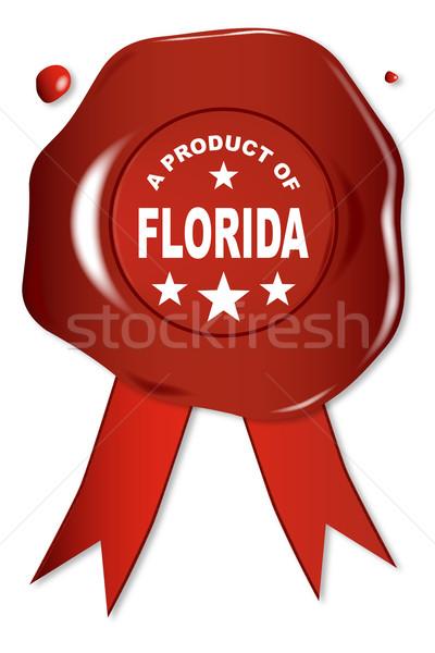 Produto Flórida cera selar texto vermelho Foto stock © Bigalbaloo