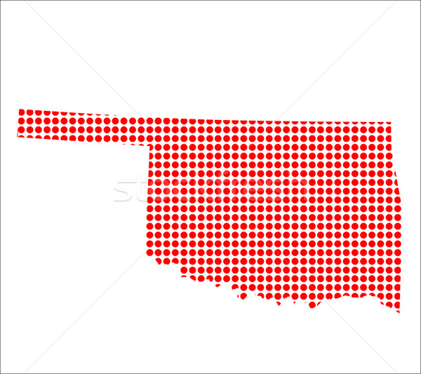Red Dot Map of Oklahoma Stock photo © Bigalbaloo