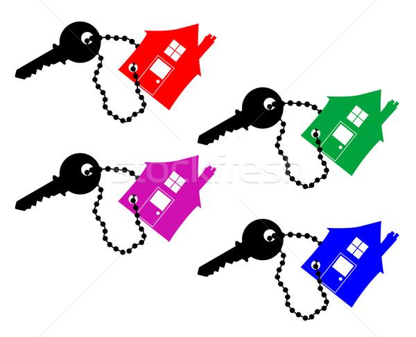 Kulcs új ház szett négy kulcsok gyűrűk Stock fotó © Bigalbaloo