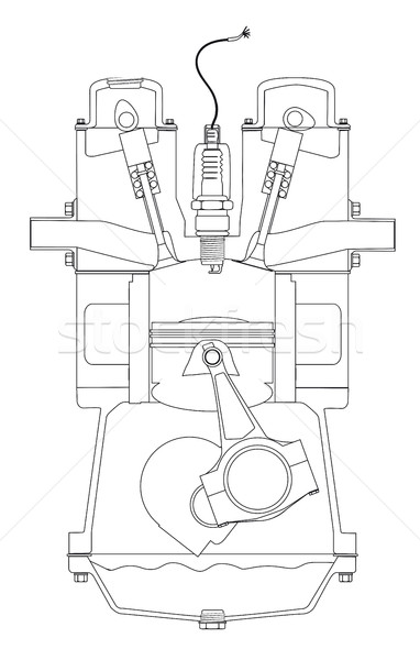 Outlind Drawing Petrol Engine Stock photo © Bigalbaloo