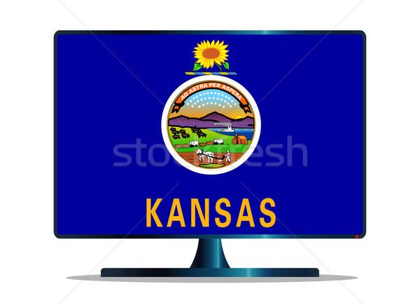 Kansas Flag TV Stock photo © Bigalbaloo