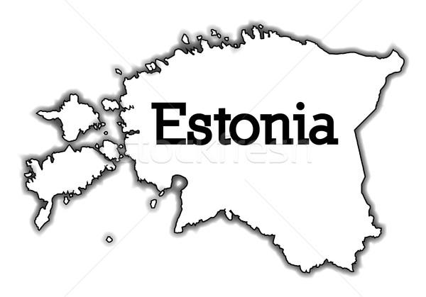 Estland schets kaart witte land grafische Stockfoto © Bigalbaloo