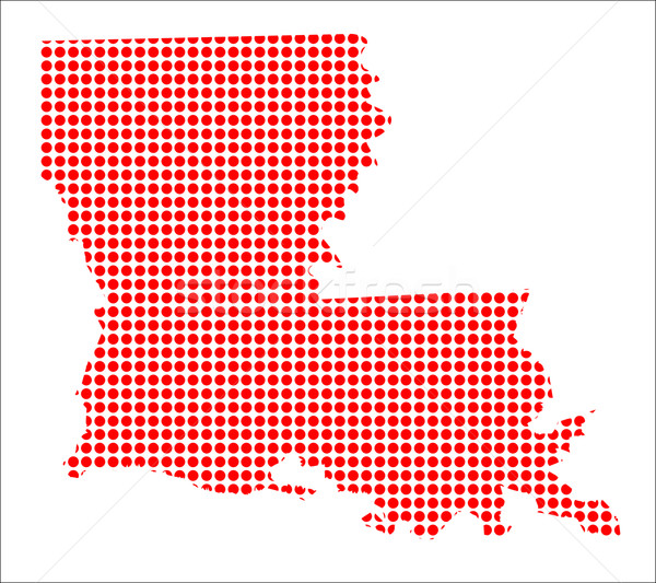 Red Dot Map of Louisiana Stock photo © Bigalbaloo