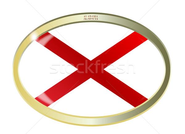Alabama bayrak oval düğme Metal yalıtılmış Stok fotoğraf © Bigalbaloo