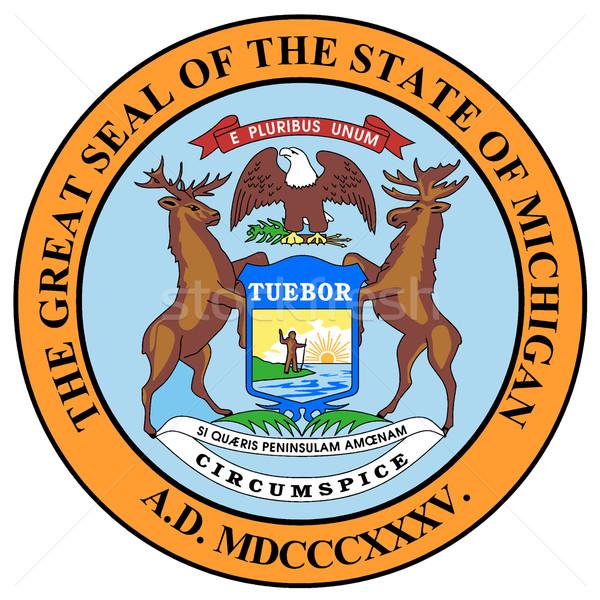 Michigan mühürlemek beyaz grafik Amerika ABD Stok fotoğraf © Bigalbaloo
