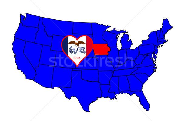 Iowa skicc ikon szett térkép Egyesült Államok Stock fotó © Bigalbaloo