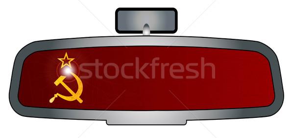 Conducción Rusia vehículo espejo bandera Foto stock © Bigalbaloo