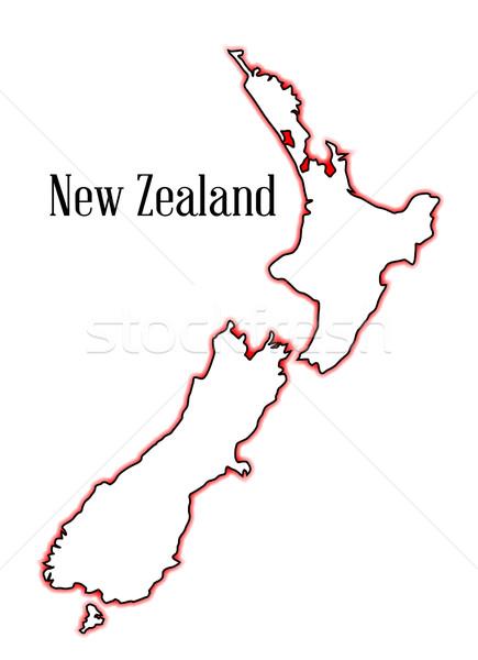 Nova Zelândia mapa vermelho preto Foto stock © Bigalbaloo