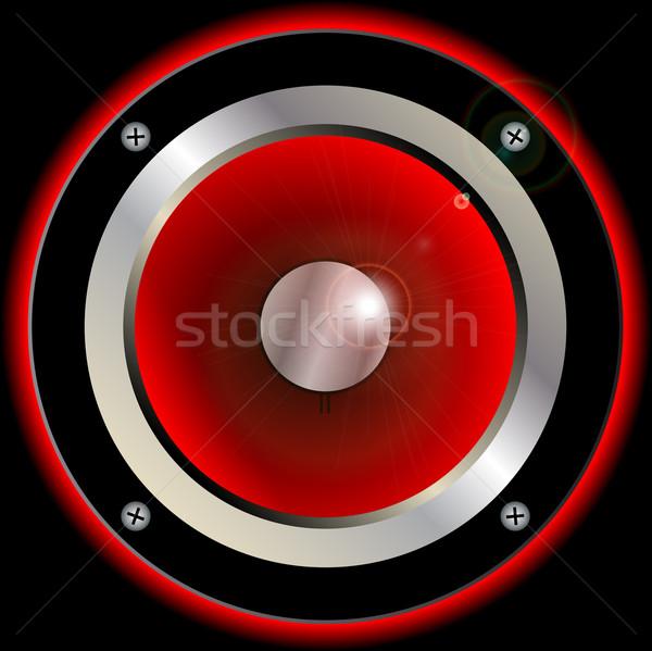 Piros hangszóró kúp hifi zene gitár Stock fotó © Bigalbaloo