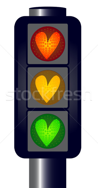 Love Heart Traffic Lights Stock photo © Bigalbaloo