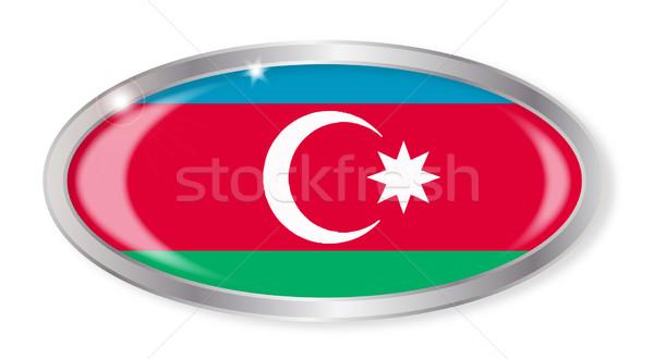 Азербайджан флаг овальный кнопки серебро изолированный Сток-фото © Bigalbaloo
