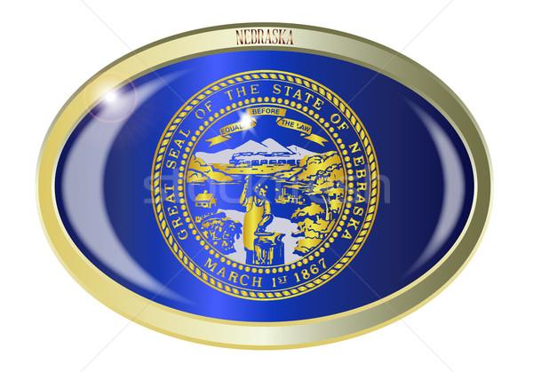 Nebraska zászló ovális gomb fém izolált Stock fotó © Bigalbaloo